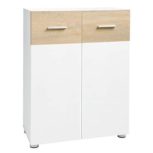 VASAGLE Bathroom Floor Cabinet, Storage Cabinet Unit, Double Door Cupboard with Adjustable Shelves and Feet, for Entryway Hallway, 60 x 30 x 82 cm, White and Oak Colour BBK43WN