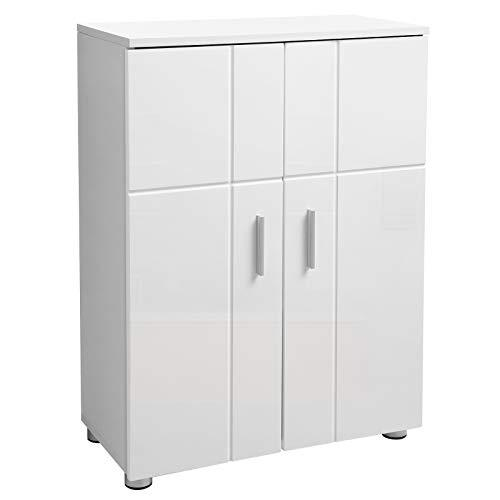 VASAGLE Bathroom Floor Cabinet, Storage Cabinet Unit, Double Door Cupboard with Adjustable Shelves, Buffer Hinges, Adjustable Feet, Entryway Standing Cabinet, 60 x 30 x 82 cm, White BBK42WT