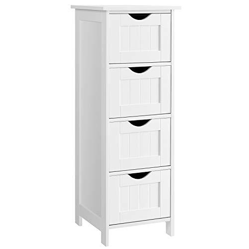 VASAGLE Bathroom Floor Storage Cabinet, Slim Wooden Storage Unit with 4 Drawers, 30 x 30 x 82 cm, for Living Room, Kitchen, Entryway, White LHC40W