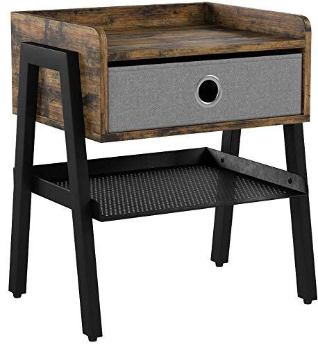 VASAGLE Bedside Tables, Industrial Nightstand, End Table with Removable Fabric Drawer, Mesh Shelf, Metal Frame, for Living Room, Bedroom, Balcony, Rustic Brown LET64X