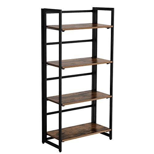 VASAGLE Bookcase, Industrial Folding Storage Rack, 4-Tier Bookshelf, Multifunctional Shelving Unit, Easy Assembly, with Metal Frame, for Living Room, Bedroom, kitchen, Rustic Brown LLS88X