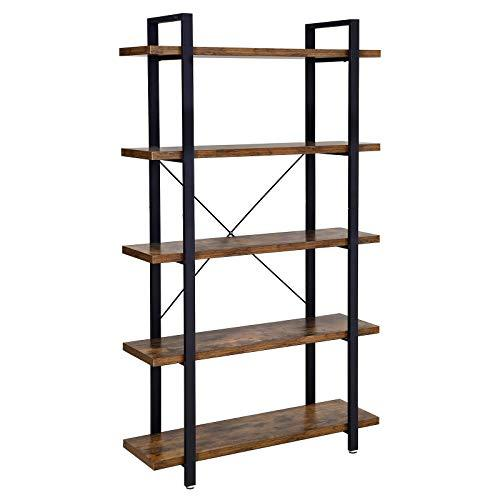 VASAGLE Bookshelf, 5-Layer Industrial Stable Bookcase, Storage Rack, Standing Shelf, Easy Assembly, Living Room, Bedroom, Office, Rustic Brown LLS55BX