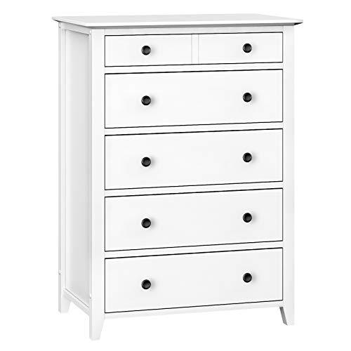 VASAGLE Chest of Drawers, 5-Drawer Dresser with Solid Wood Frame, Storage Unit for the Bedroom, Living Room, Kid's Room, White RCD01WT