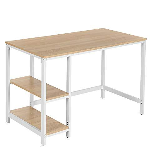 VASAGLE Computer Desk, Writing Desk for Study, Laptops, with 2 Shelves on Left or Right, Table for Office Living Room Bedroom, with Metal Frame, Easy Assembly, Modern Wood Grain Colour LWD47N