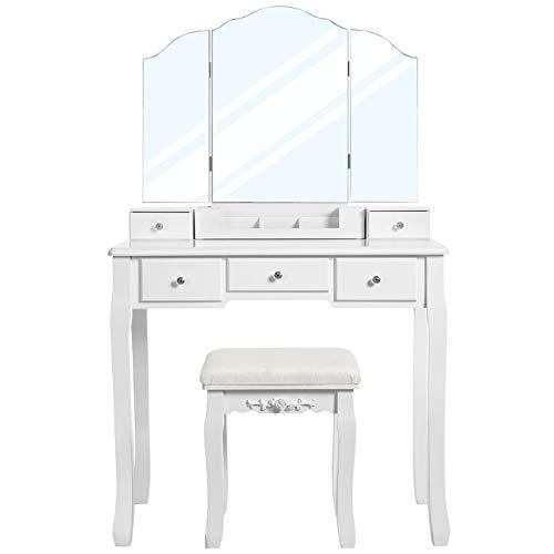 VASAGLE Dressing Table with 5 Drawers, Makeup Desk with 1 Stool, Frameless Tri-Fold Mirror, 1 Removable Cosmetic Storage Box, Vanity Set, Easy to Assemble, White RDT28WT