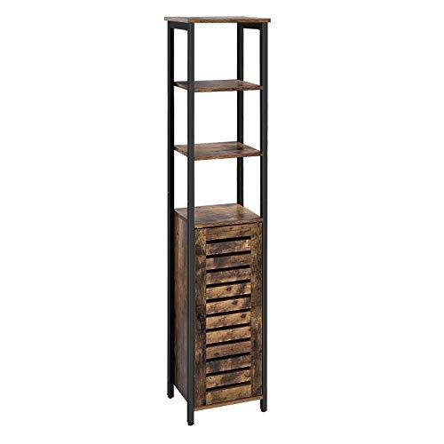 VASAGLE Floor Standing Shelf, Industrial Narrow Bathroom Cabinet with 3 Shelves and Cupboard, Tall, Multipurpose in the Living Room, Bathroom, 37 x 30 x 167 cm, Rustic Brown LSC37BX