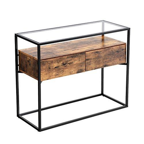VASAGLE Industrial Console Table, Tempered Glass Table with 2 Drawers and Rustic Shelf, Decoration Sideboard, in Hallway Lounge or Foyer, Stable Iron Frame LNT11BX