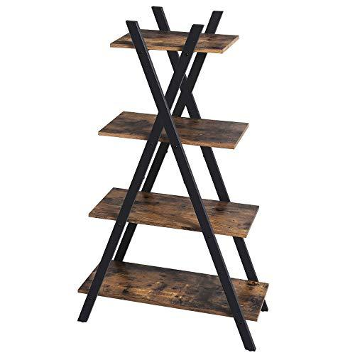 VASAGLE Industrial Ladder Shelf, 4-Tier Storage Rack Unit, Bookshelf for Living Room, Bedroom, and Office, Stable Iron Frame, Easy Assembly, Rustic Brown LLS14BX