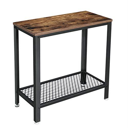 VASAGLE Industrial Side Table, End Table, Bedside Table With Mesh Shelf, Easy Assembly, Narrow and Space Saving in Living Room, Bedroom, Iron, 60 x 30 x 60 cm, Rustic Brown LET31BX