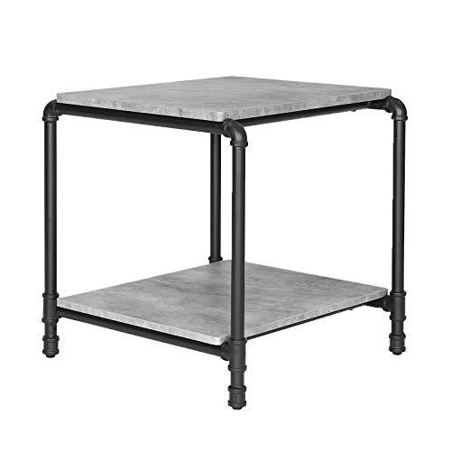 VASAGLE Industrial Side Table, End Table, Night Stand with Faux Concrete, Iron Pipe Legs, and 2 Storage Shelves for Living Room, Office, Easy to Assemble, Concrete Grey LET59BG
