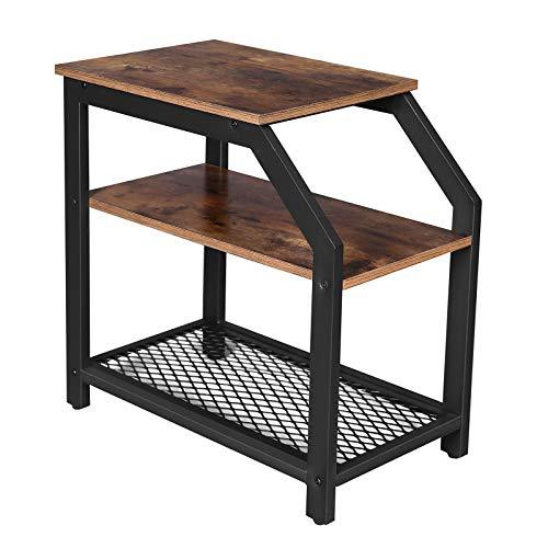 VASAGLE Industrial Side Table, End Table with Storage Shelves and Metal Mesh Shelf, in Living Room, Bedroom, Easy Assembly, Sturdy, Rustic Brown LNT58BX