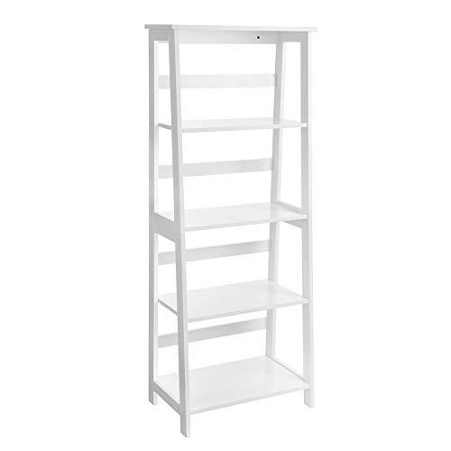 VASAGLE Ladder Shelf, 4-Tier Bookcase, Multifunctional Storage Shelf for Living Room, Wooden Stand for Sunroom, White LLS90WT