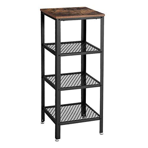 VASAGLE Ladder Shelf, Industrial Storage Shelf Unit, Stable Bookcase with 4 Levels, with Metal Frame, Easy Assembly, for Living Room, Kitchen, Balcony, Rustic Brown LSS04BX