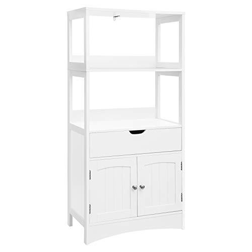 VASAGLE Large Storage Cabinet with Drawer, 2 Open Shelves and Double Door Cupboard, Floor Bathroom Cabinet Display in The Entryway, Kitchen and Living Room, White, BBC64WT