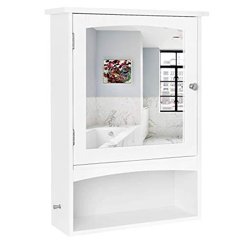 VASAGLE Mirror Cabinet, Wall Storage Cabinet with Open Compartment and Adjustable Shelf, Country Style Medicine Cabinet, Wooden Bathroom Cabinet, 48 x 16 x 65 cm (W x D x H), White, BBC21WT