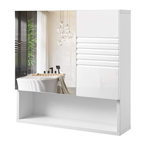 VASAGLE Mirrored Bathroom Cabinet, Storage Cupboard Wall Mounted, Wall Cabinet Storage, with Adjustable Shelves, Buffer Hinges, 54 x 15 x 55 cm, White BBK21WT