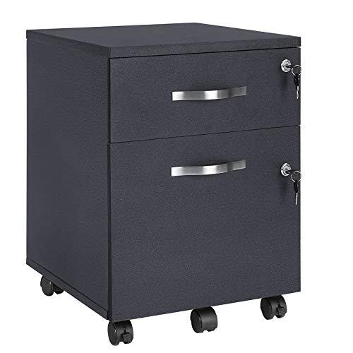 VASAGLE Mobile File Cabinet with Locks and Drawers, Filing Pedestal with 5 Wheels, and Adjustable Hanging Rails, for A4 and Letter Sized Papers, Home Office, Black LCD22BV1