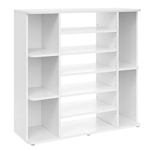 VASAGLE Multi-Tier Shoe Rack, Shoe Storage with Adjustable Shelves, Entryway Cabinet, Melamine Veneer, Easy to Clean, 92 x 30 x 88.5 cm, White LBC05WT