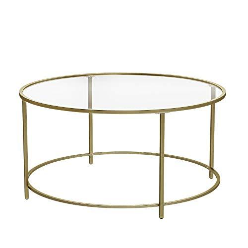 VASAGLE Round Coffee Table, Glass Table with Golden Iron Frame, Living Room Table, Sofa Table, Robust Tempered Glass, Stable, Decorative, Gold LGT21G