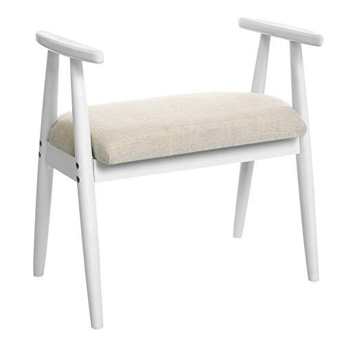 VASAGLE Shoe Bench, Upholstered Dressing Stool with Armrests, Solid Rubberwood Frame, Load Capacity 130 kg, for Entryway, Bedroom, Living Room, White RSB01WT