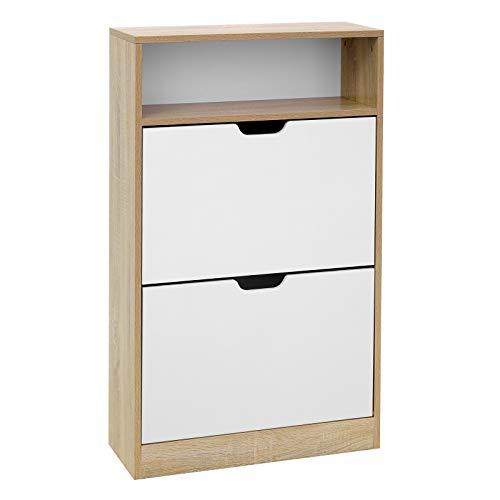 VASAGLE Shoe Cabinet with 2 Flaps, Shoe Rack with an Open Shelf, Melamine Veneer, Easy to Clean, 60 x 24 x 102 cm, White and Natural LBC04NW
