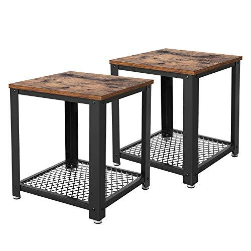 VASAGLE Side Table, Nitghtstands Set of 2 with Storage, End Table, Coffee Table, with Metal Frame, Easy to Put Together, for Living Room, Bedroom, Kitchen LET82X