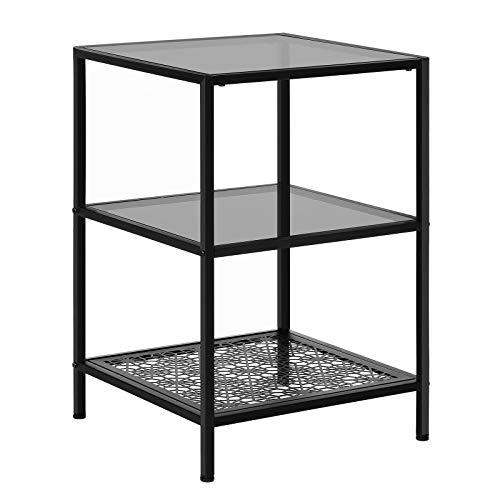 VASAGLE Side Table with 2 Glass Table Surfaces, Storage Shelf with Flower Pattern and Robust Tempered Glass, SGS Tested Sturdy and Stable, for Living Room, Bedroom, Balcony, Metal, Black LGT02BK