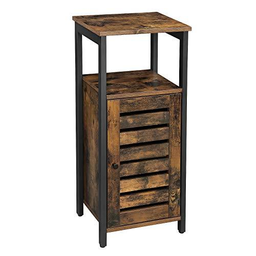 VASAGLE Storage Cabinet, Standing Cabinet, Industrial Side Cabinet, Beside Cupboard with Shelf, for Living Room, Bedroom, Hallway, 37 x 30 x 81 cm, Rustic Brown LSC34BX