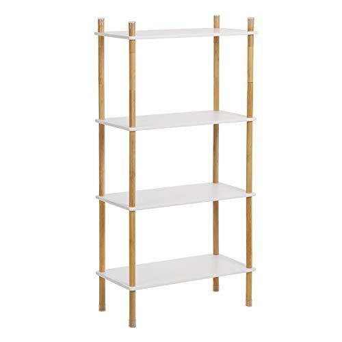 VASAGLE Storage Rack, 4-Tier Standing Shelf with Bamboo Legs, Expandable Bookshelf with Adjustable Height, Ideal for Living Room, Bathroom, Kitchen, White and Natural Grain LUS104WN