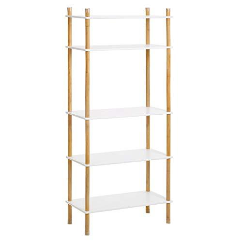 VASAGLE Storage Rack, 5-Tier Standing Shelf with Bamboo Legs, Expandable Bookshelf with Adjustable Height, Ideal for Living Room, Bathroom, Kitchen, White and Natural Grain LUS105WN