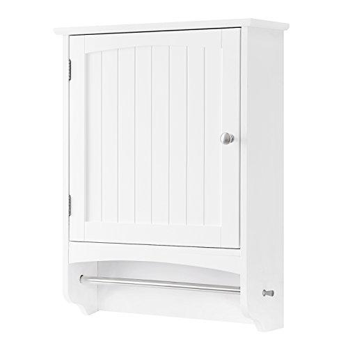 VASAGLE Wall Cabinet, Wooden Bathroom Cabinet, Hanging Storage Cabinet with Towel Rod and Adjustable Shelf, Country Style Medicine Cupboard, White, 48 x 16 x 65 cm (W x D x H), BBC22WT