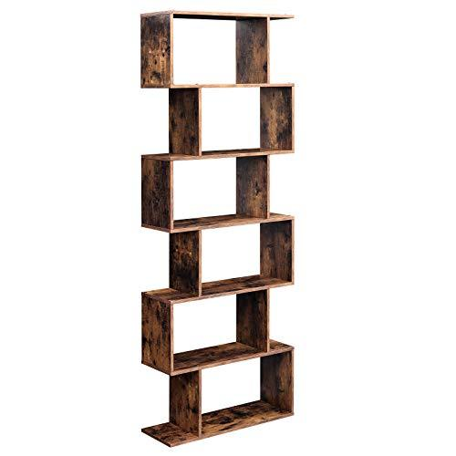 VASAGLE Wooden Bookcase, Cube Display Shelf and Room Divider, Freestanding Decorative Storage Shelving, 6-Tier Bookshelf, Rustic Brown LBC61BX