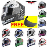 VCAN V127 Full Face Double Sun Visor Motorbike Motorcycle Helmet Hollow With Free VCAN V127/V128 Dark Smoke Visor M(57-58cm)