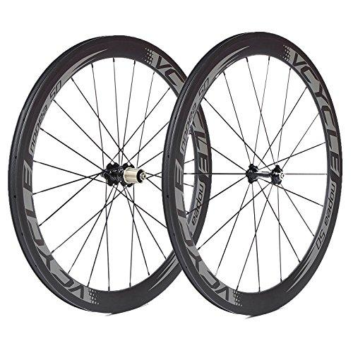 VCYCLE Nopea 700C Carbon Fiber Racing Road Bike Wheelset 50mm Clincher 23mm Width Only 1700g Shimano or Sram 8/9/10/11 Speed.Tax Free.