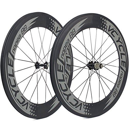 VCYCLE Nopea 700C Carbon Racing Road Bicyle Wheelset 88mm Clincher 23mm Width Shimano or Sram 8/9/10/11 Speed.Tax Free.