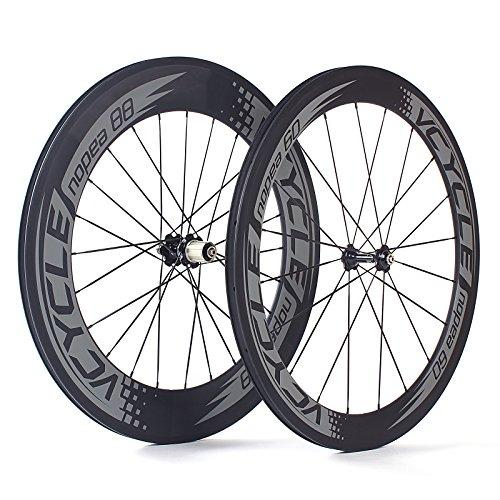 VCYCLE Nopea 700C Carbon Racing Road Bike Wheelset 23mm Width Clincher Front 60mm Rear 88mm Shimano 8/9/10/11