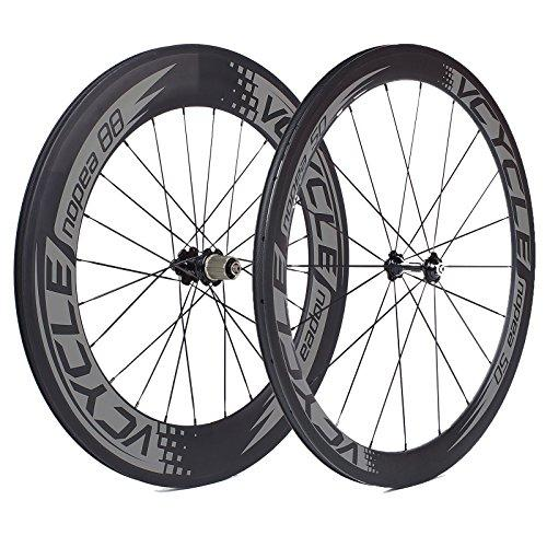 VCYCLE Nopea Carbon Racing Road Bike Wheelset 700c Tubular Front 50mm Rear 88mm Shimano or Sram 8/9/10/11 Speed