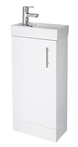 Veebath White Sheen Floor Standing Cloakroom Vanity Unit (400mm) with Prima Mono Basin Mixer