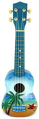 Velocity Toys Classic Ukulele 4 Stringed Toy Guitar Lute Musical Instrument (Blue) by Velocity Toys