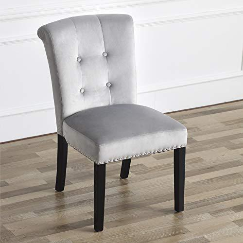 Velvet Camden Dining Chair With Retro Chrome Knocker Bedroom Button Back Upholstered Chair Grey