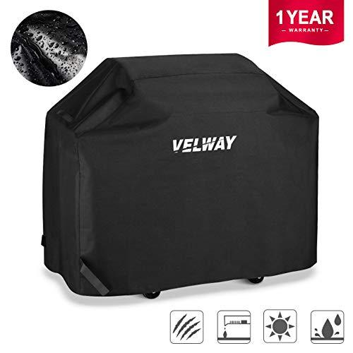 Velway Gas Grill Cover 58 Inch Burner Barbecue Covers Heavy Duty Waterproof UV Fade Resistant Oxford Durable and Convenient with Zipper Storage Bag Fits Grills of Weber Char-Broil Brinkmann Holland
