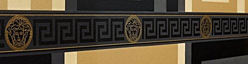 Versace Wallpaper Border Black Gold Luxury Satin Modern Designer Greek Key