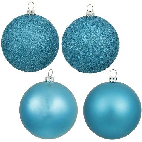 "Vickerman Shatterproof Assorted Ball Ornaments Featuring Shiny, Matte, Sequin, and Glitter Finishes, 96 per Box, 1.6"", Turquoise"