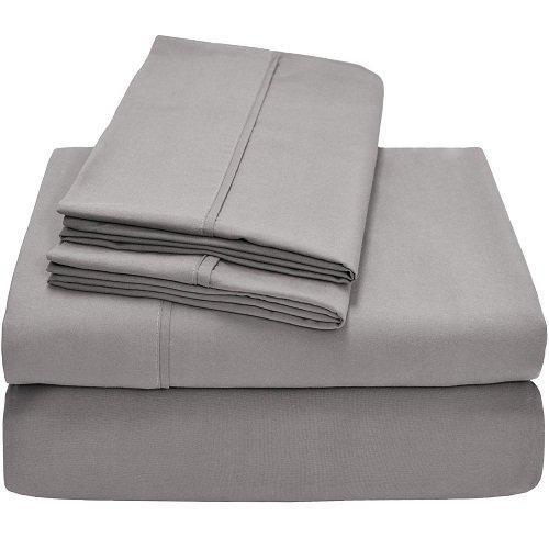 Victoria Bedding 4-Piece Sheet Sets, Euro Double Ikea, Light Grey Solid - Fit Mattress Up to 21 CM Deep Pocket 100% Cotton 650 Thread-Count