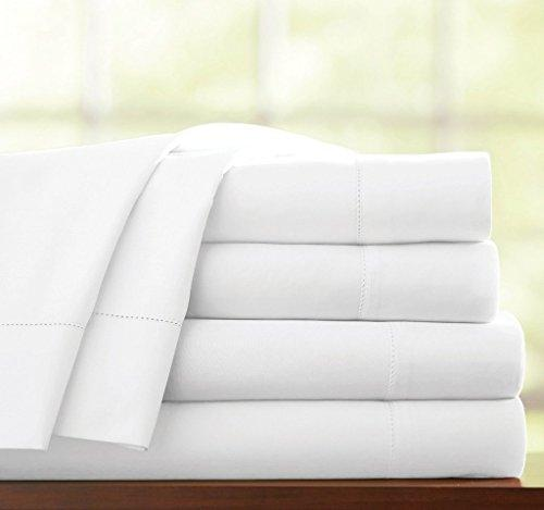 Victoria Bedding 4-Piece Sheet Sets, Single, White Solid - Fit Mattress Up to 15 CM Deep Pocket 100% Cotton 650 Thread-Count
