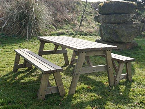 VICTORIA WOODEN PICNIC TABLE BENCH SEAT SET WITH BENCHES SLIDING - Pressure treated wood picnic table