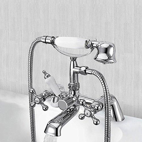 Victorian Traditional Bathroom Shower Taps Filler Mixer Tap Handheld Faucet Chrome Brass