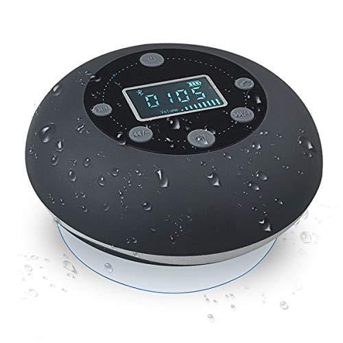 VICTORSTAR Bluetooth Wireless Waterproof Shower Speaker, Speakers S602 with Suction Cup, LCD Display, Built-in Mix, FM Radio, TF Card playing,10 Hours Playing Time, Hands-Free for iPhone, Pool (Grey)