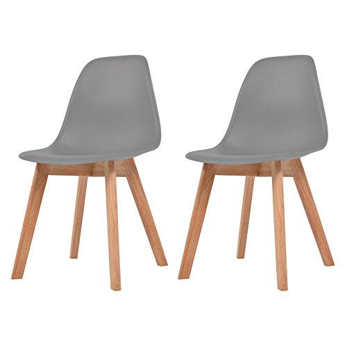 vidaXL 2X Dining Chairs Grey Solid Wood Leg Plastic Seat Kitchen Furniture