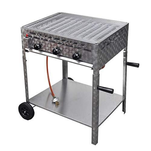 VidaXL 3-Flame Gas Roaster Gas Barbecue Catering Gas Grill with Frame